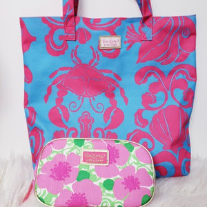 Lilly Pulitzer Estee beach tote &makeup bag NWOT